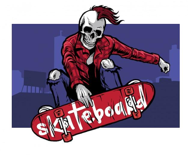 Hand drawing style of skull skater