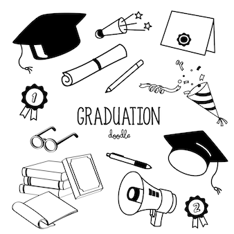 Hand drawing styles graduation objects. graduation items doodle.