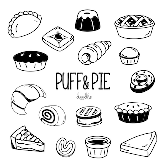 Hand drawing styles for puff and pie