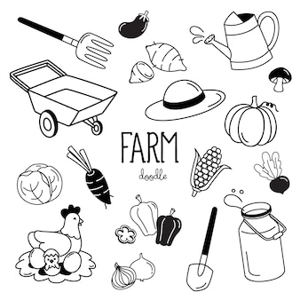 Hand drawing styles with farm items. farm doodle.
