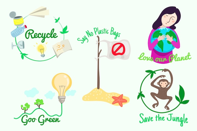 Hand-drawing thematic ecology badges