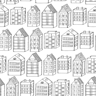 Hand drawing town houses seamless pattern background