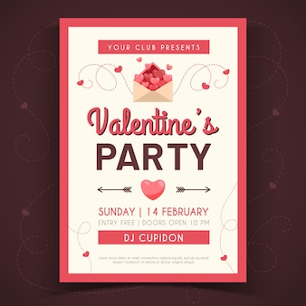 Hand-drawing valentines day party fyer template