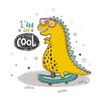 아이 인쇄 디자인에 대 한 멋진 공룡의 손 그리기 벡터 일러스트 레이 션