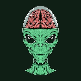 Hand drawing vintage alien head with brain vector illustration