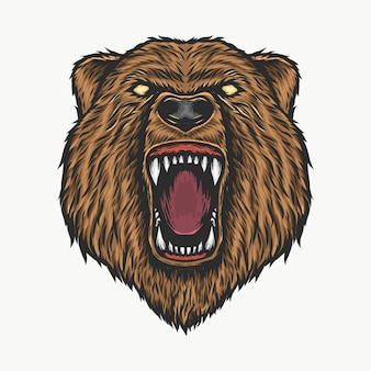Hand drawing vintage angry bear head vector illustration