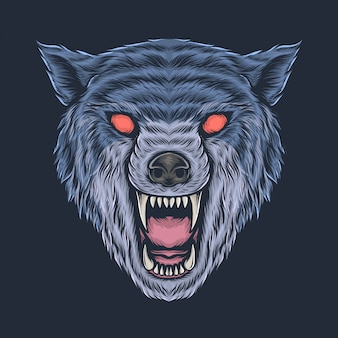 Hand drawing vintage angry wolf head vector illustration