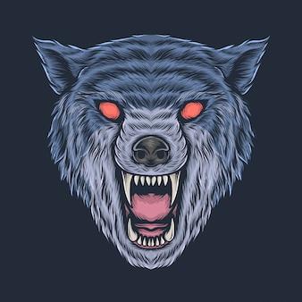 手描きのビンテージ怒っているオオカミの頭のベクトル図