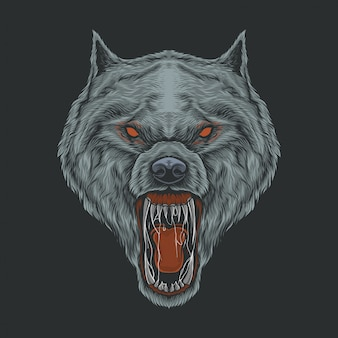 Hand drawing vintage angry wolf  illustration
