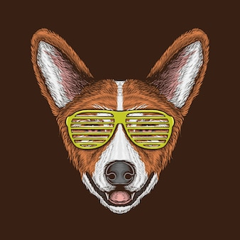 Hand drawing vintage corgi head with sunglasses illustration