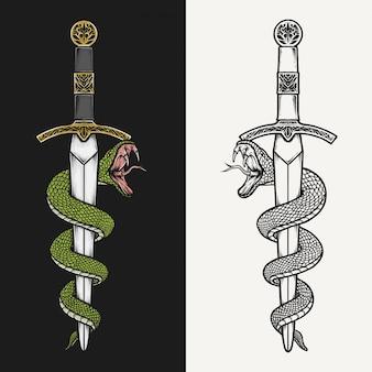 Hand drawing vintage dagger and green mamba vector illustration