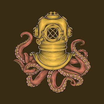 Hand drawing vintage diver helmet octopus vector illustration
