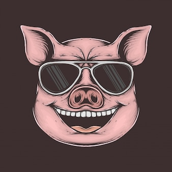 Hand drawing vintage funky pig vector illustration