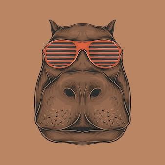 Hand drawing vintage hippopotamus head with sunglasses illustration