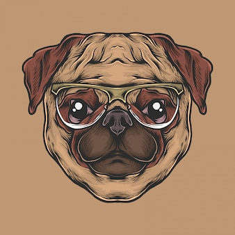 Hand drawing vintage pug head with sunglasses vector illustration