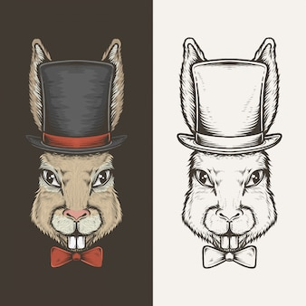 Hand drawing vintage rabbit with top hat vector illustration