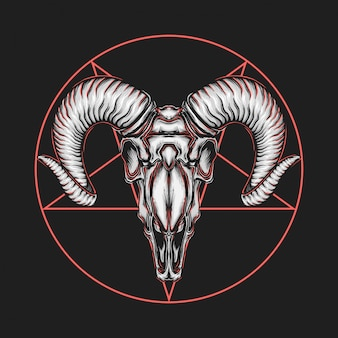 Hand drawing vintage satanic goat head vector illustration