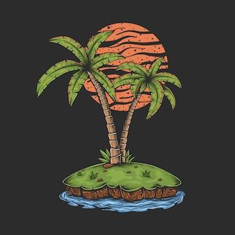 手描きのヴィンテージの夕日の島のイラスト