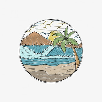 Hand drawing vintage waves beach vector illustration