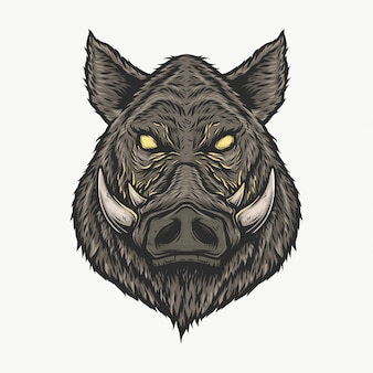 Hand drawing vintage wild boar head vector illustration