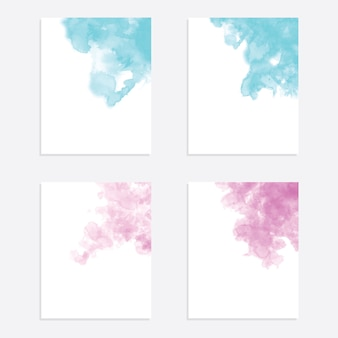 Hand drawing watercolor background vector set
