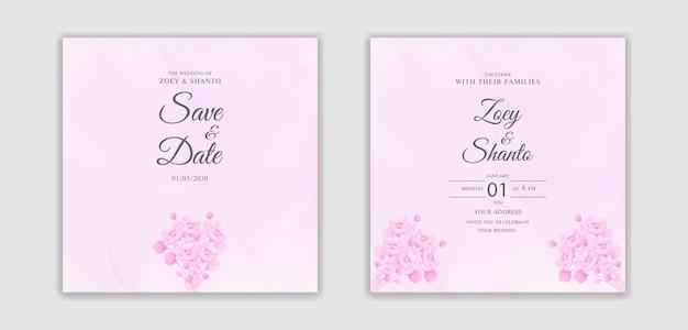 ピンクのスプラッシュ背景と水彩花の除草カードのデザインを手描き