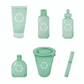 プラスチック製のリサイクル素材の手描き水彩画