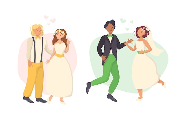 Hand-drawing wedding couple collection concept