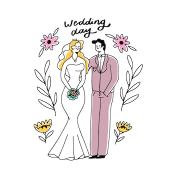 Hand-drawing wedding couple concept