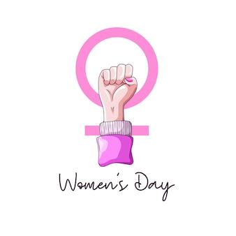 여성의 날에 대한 열정적 인 손으로 그리는 손