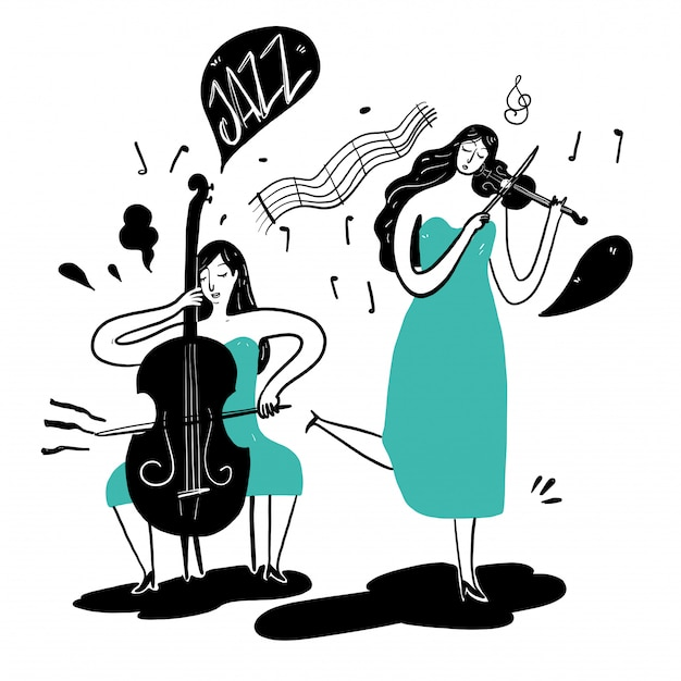 Hand drawing women playing music