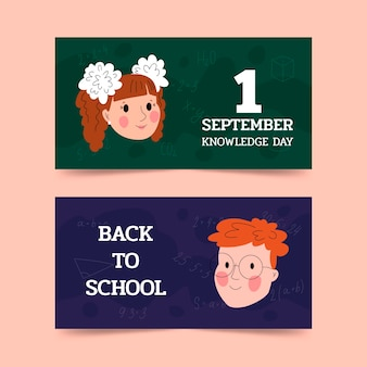 Set di banner disegnati a mano 1 settembre