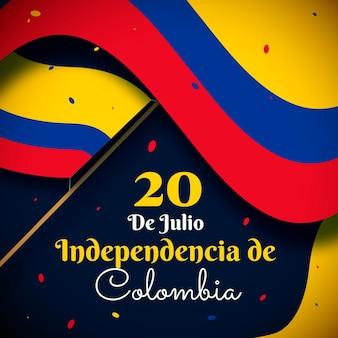 手描きの20de julio-independencia decolombiaイラスト