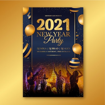 Hand drawn 2021 party poster template