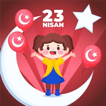 Hand drawn 23 nisan illustration