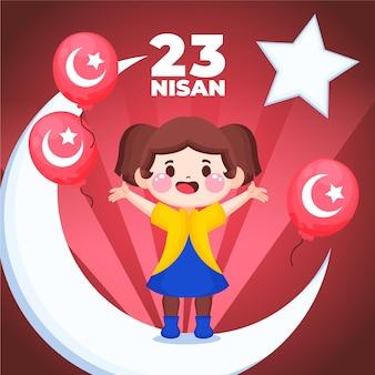 Нарисованная рукой иллюстрация 23 нисана
