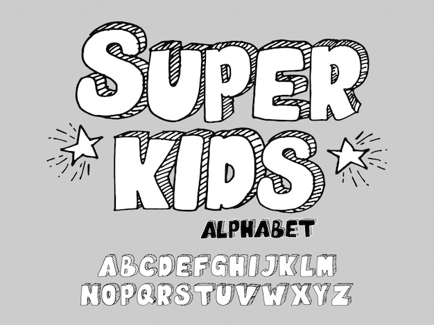 Hand-drawn 3d font kids