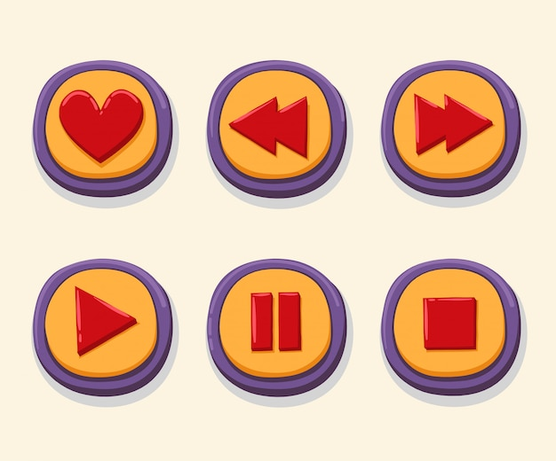 Hand drawn 3d web buttons for music player.