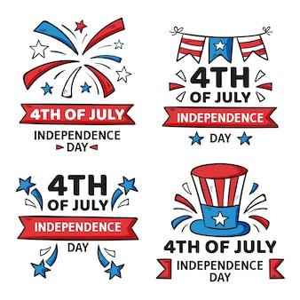 4 luglio disegnato a mano - collezione di distintivi del giorno dell'indipendenza