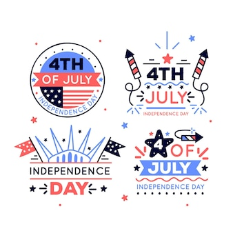 Hand drawn 4th of july - independence day badges