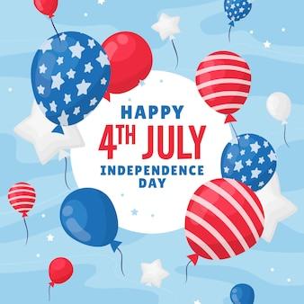 4 ° sfondo di palloncini di giorno dell'indipendenza di luglio disegnato a mano