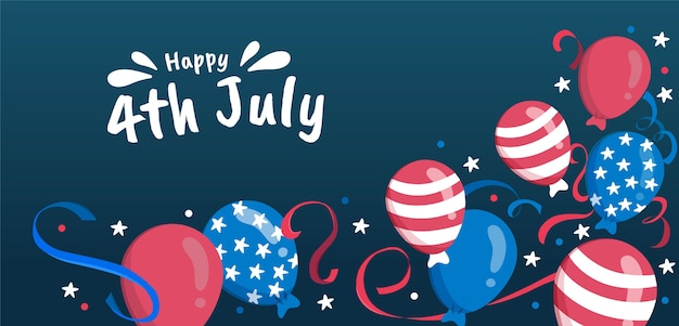 Hand drawn 4th of july - independence day balloons background