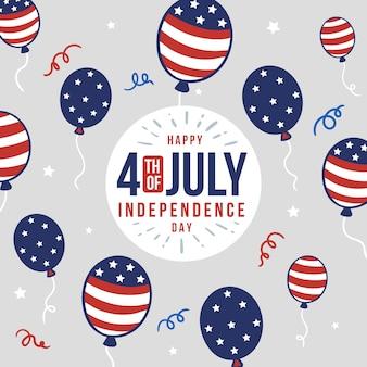 4 luglio disegnato a mano - sfondo di palloncini festa dell'indipendenza