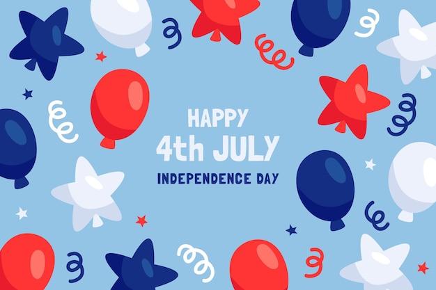 4 luglio disegnato a mano - sfondo di palloncini giorno dell'indipendenza
