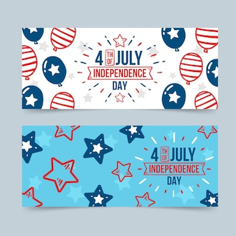 Hand drawn 4th of july independence day banners set