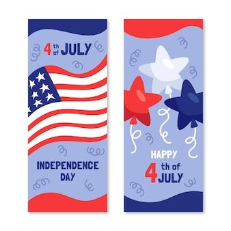 4 luglio disegnato a mano - set di bandiere del giorno dell'indipendenza