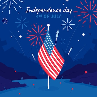 Hand drawn 4th of july independence day illustration