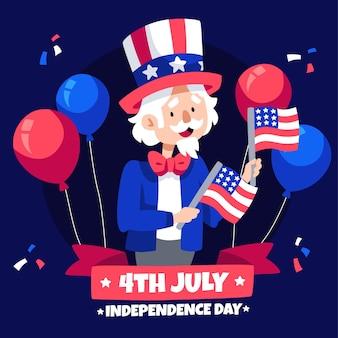 4 luglio disegnato a mano - illustrazione di giorno di indipendenza