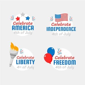 4 luglio disegnato a mano - collezione di etichette del giorno dell'indipendenza