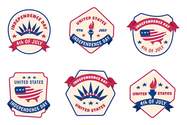 Hand drawn 4th of july - independence day labels